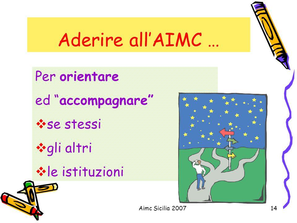 Aimc Sicilia 200714 Aderire allAIMC … Per orientare ed accompagnare se stessi gli altri le istituzioni