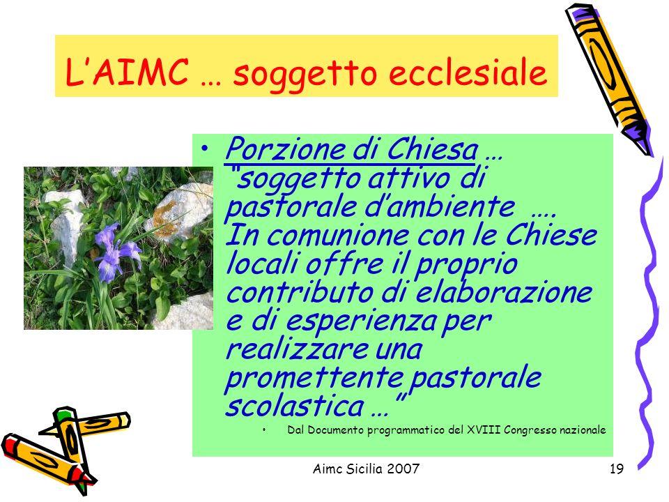 Aimc Sicilia 200719 LAIMC … soggetto ecclesiale Porzione di Chiesa … soggetto attivo di pastorale dambiente …. In comunione con le Chiese locali offre