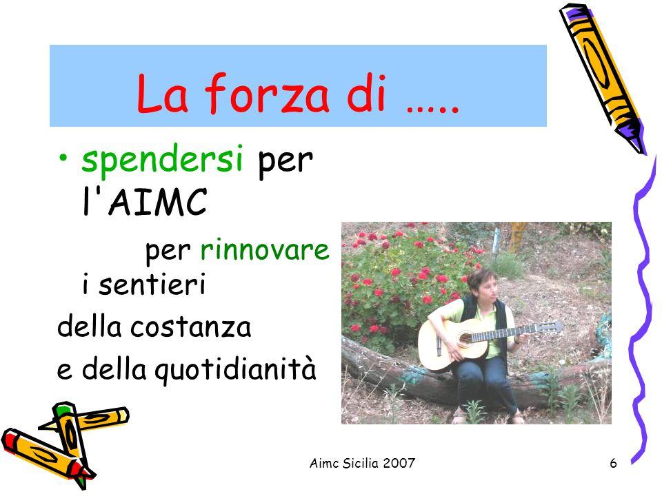 Aimc Sicilia 20076 La forza di ….. spendersi per l'AIMC per rinnovare i sentieri della costanza e della quotidianità