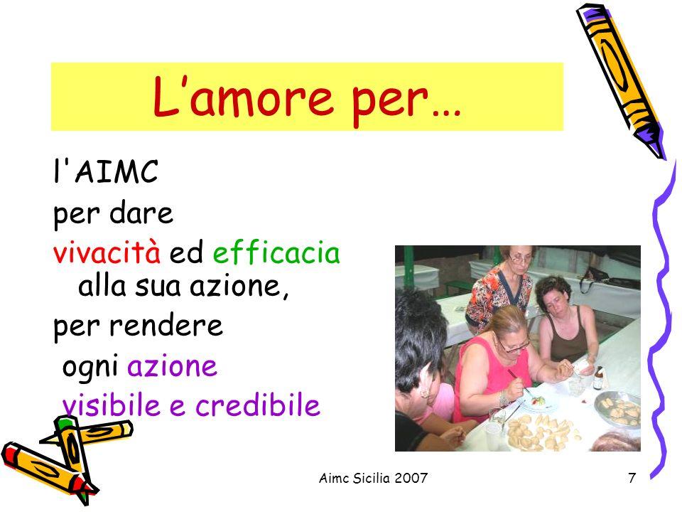 Aimc Sicilia 20077 Lamore per… l'AIMC per dare vivacità ed efficacia alla sua azione, per rendere ogni azione visibile e credibile
