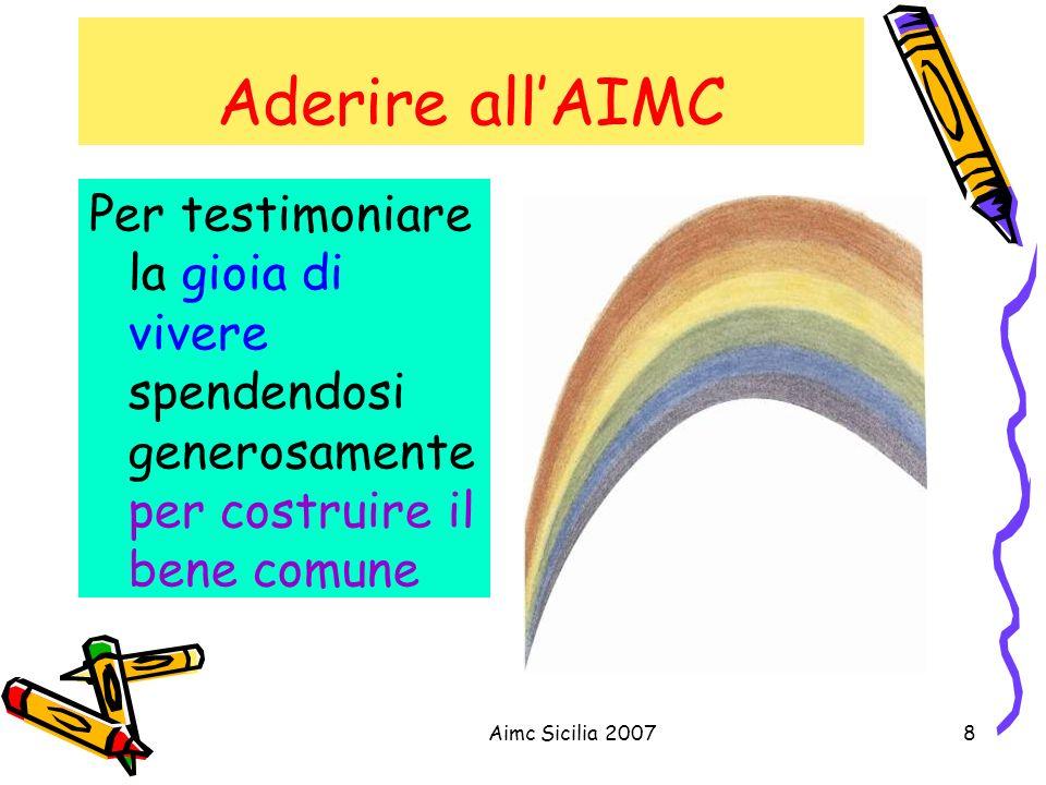Aimc Sicilia 20078 Aderire allAIMC Per testimoniare la gioia di vivere spendendosi generosamente per costruire il bene comune
