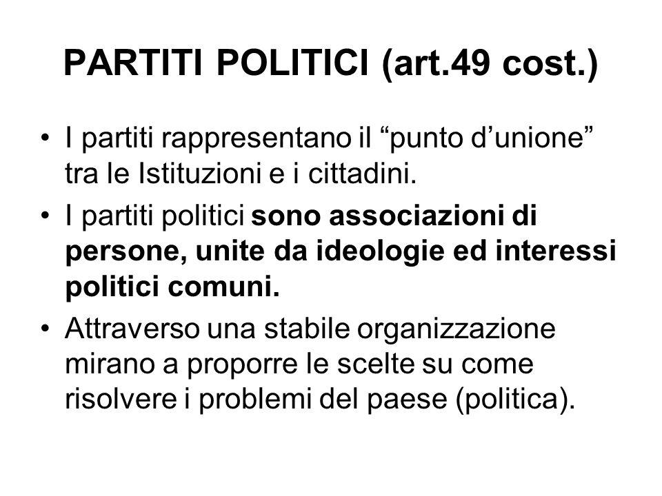 PARTITI POLITICI (art.49 cost.) I partiti rappresentano il punto dunione tra le Istituzioni e i cittadini. I partiti politici sono associazioni di per