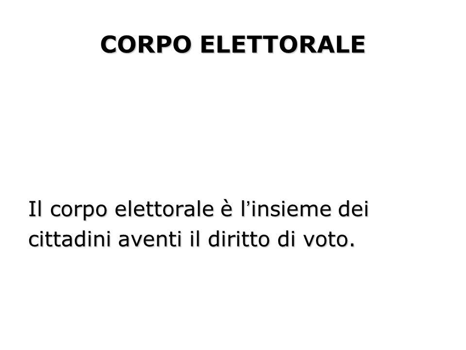 CORPO ELETTORALE Il corpo elettorale è linsieme dei cittadini aventi il diritto di voto.