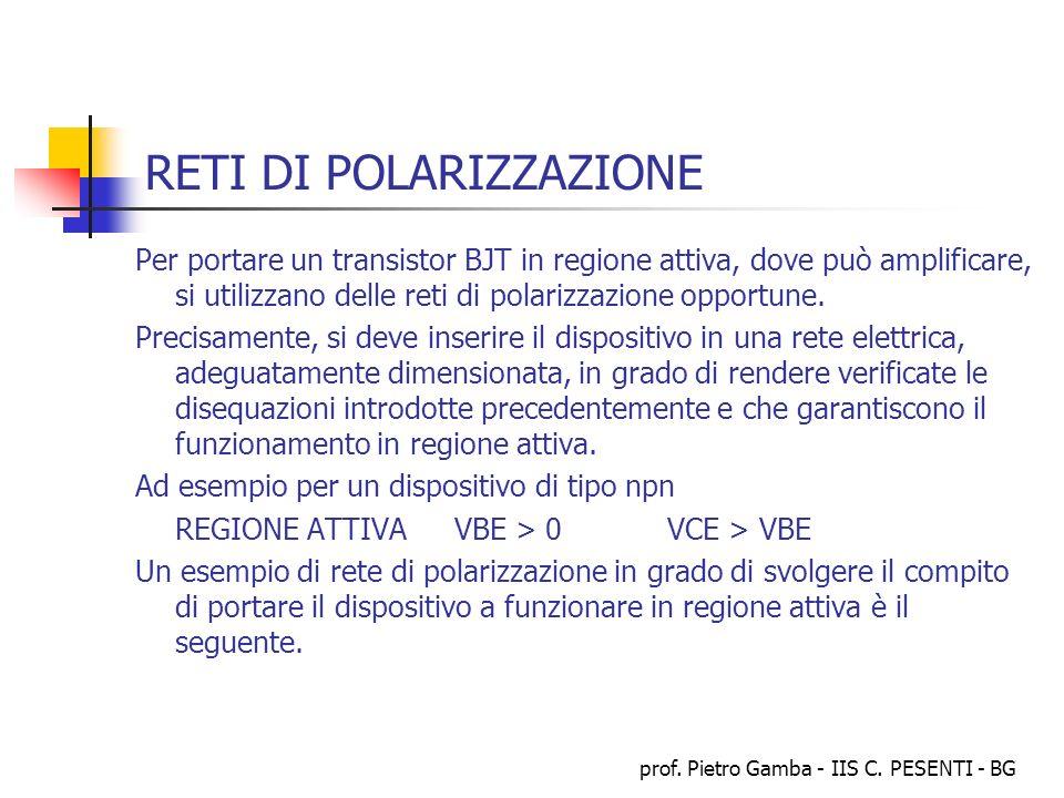 prof. Pietro Gamba - IIS C. PESENTI - BG RETI DI POLARIZZAZIONE Per portare un transistor BJT in regione attiva, dove può amplificare, si utilizzano d