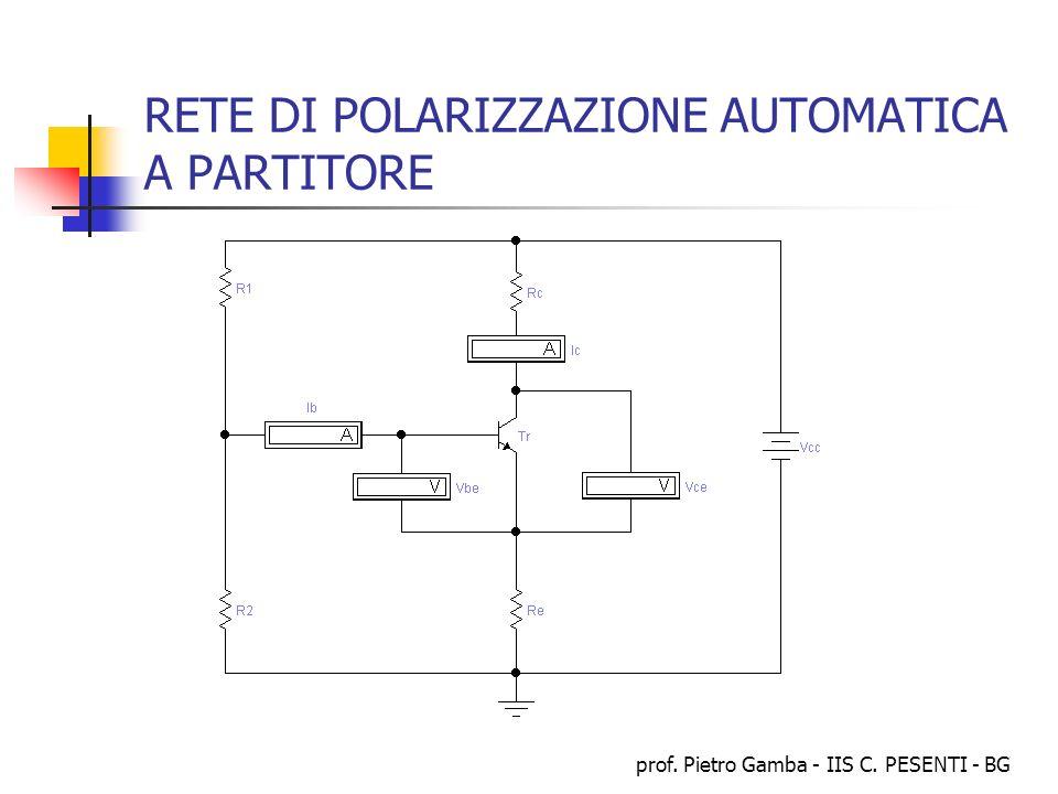 prof. Pietro Gamba - IIS C. PESENTI - BG RETE DI POLARIZZAZIONE AUTOMATICA A PARTITORE