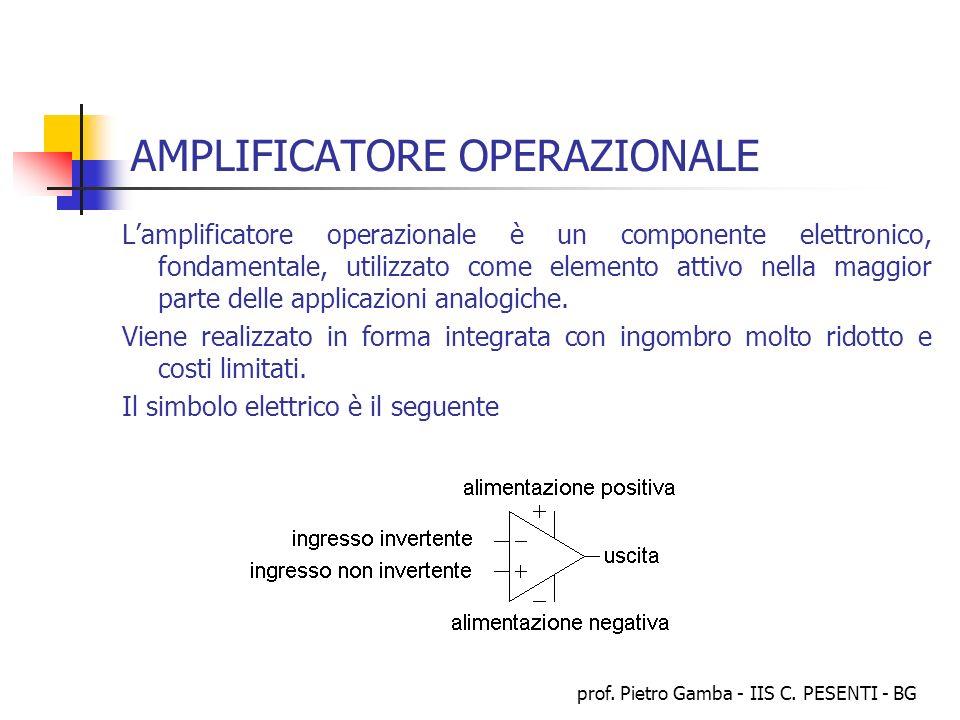 prof. Pietro Gamba - IIS C. PESENTI - BG AMPLIFICATORE OPERAZIONALE Lamplificatore operazionale è un componente elettronico, fondamentale, utilizzato