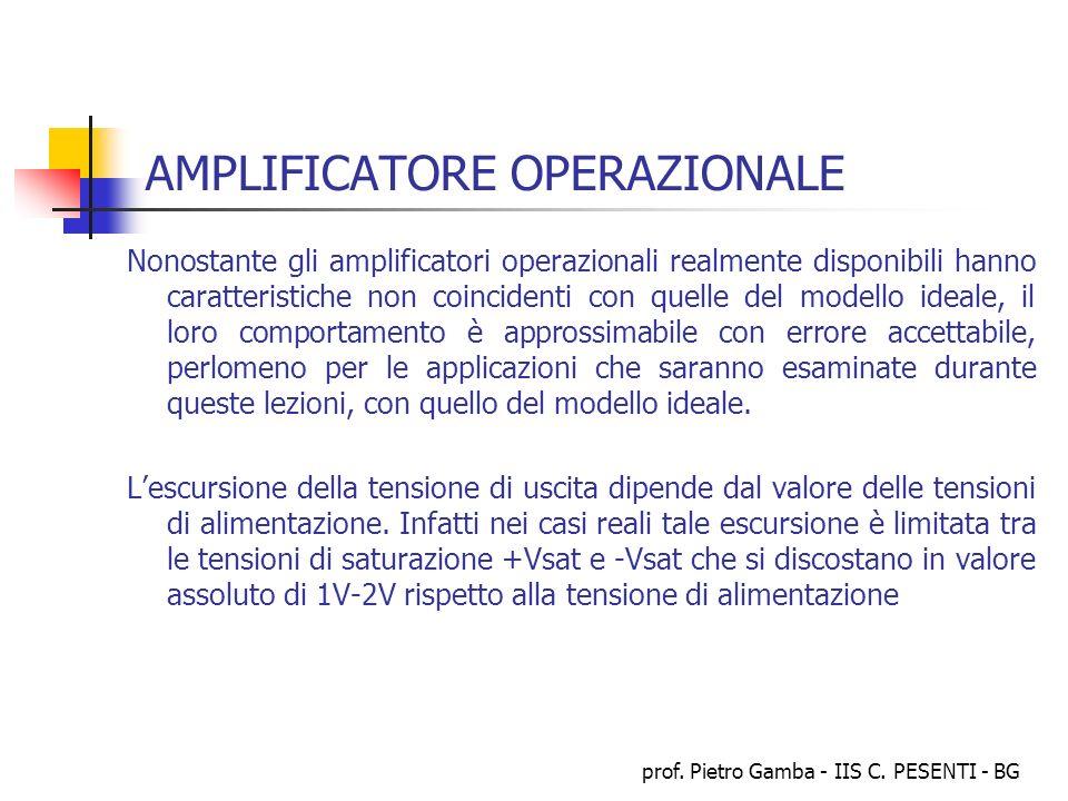 prof. Pietro Gamba - IIS C. PESENTI - BG AMPLIFICATORE OPERAZIONALE Nonostante gli amplificatori operazionali realmente disponibili hanno caratteristi