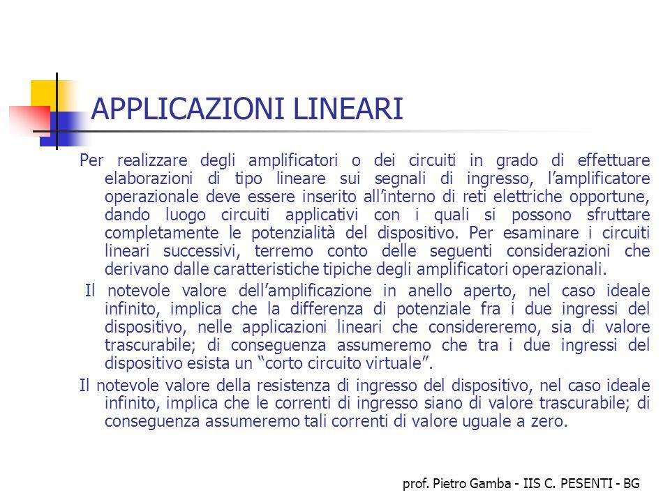 prof. Pietro Gamba - IIS C. PESENTI - BG APPLICAZIONI LINEARI Per realizzare degli amplificatori o dei circuiti in grado di effettuare elaborazioni di