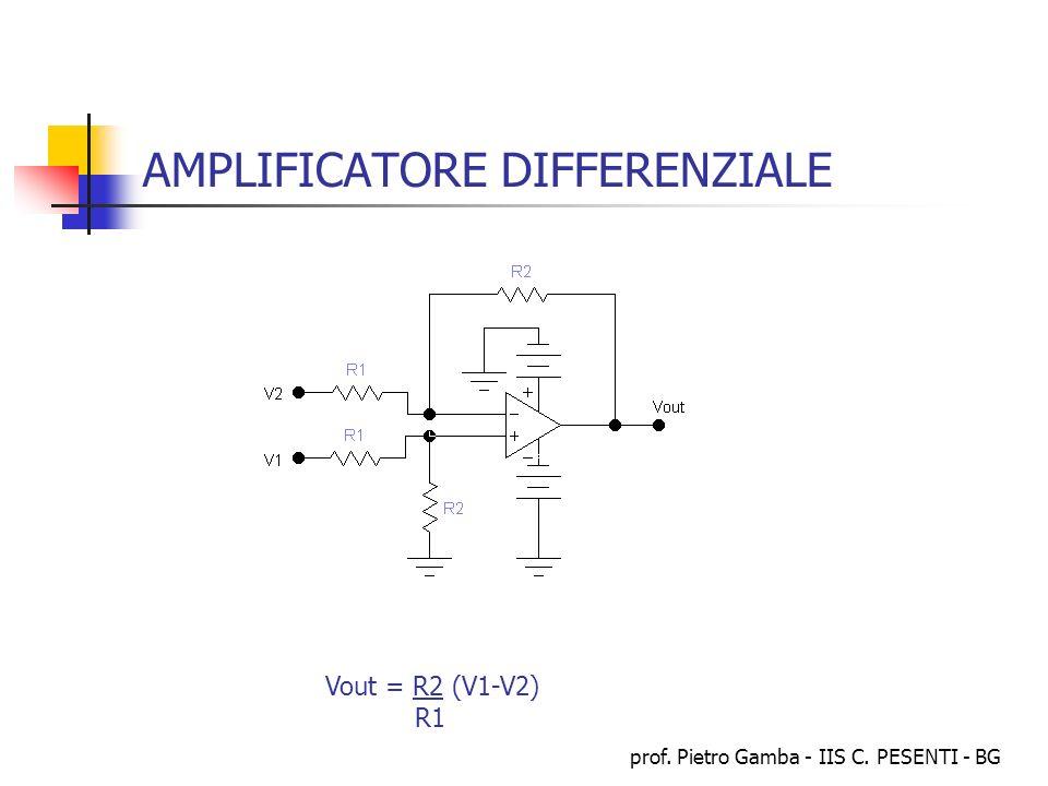 prof. Pietro Gamba - IIS C. PESENTI - BG AMPLIFICATORE DIFFERENZIALE Vout = R2 (V1-V2) R1