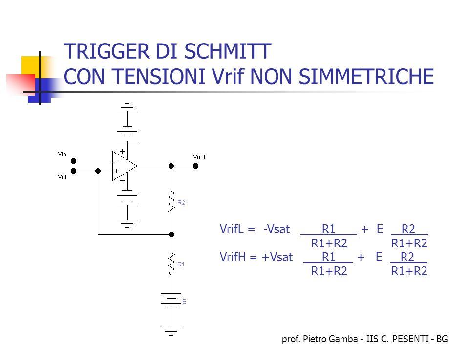 prof. Pietro Gamba - IIS C. PESENTI - BG TRIGGER DI SCHMITT CON TENSIONI Vrif NON SIMMETRICHE VrifL = -Vsat R1_ + E R2__ R1+R2 R1+R2 VrifH = +Vsat R1_