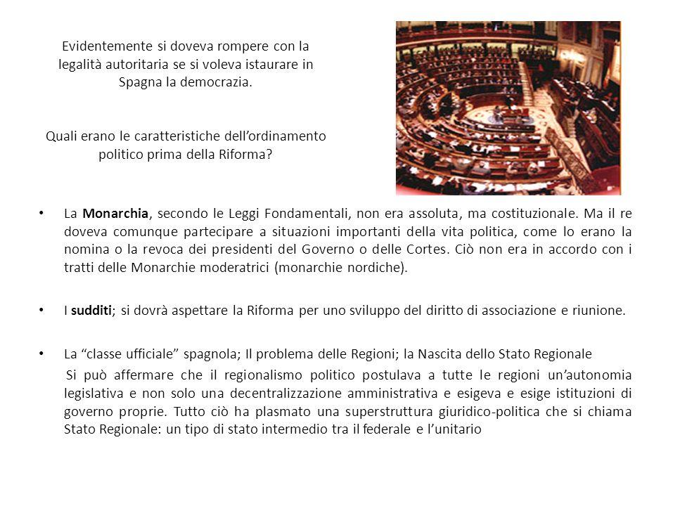 T.FERNANDEZ MIRANDA E A.SUAREZ E IL PROGETTO DI RIFORMA Come presidente di quelle corti ereditate dal franquismo, Miranda portò avanti i grandi scopi della transizione: collocare Suarez nella terna di scelta del successore di Arias Navarro e portare avanti la tanto citata legge della riforma politica.