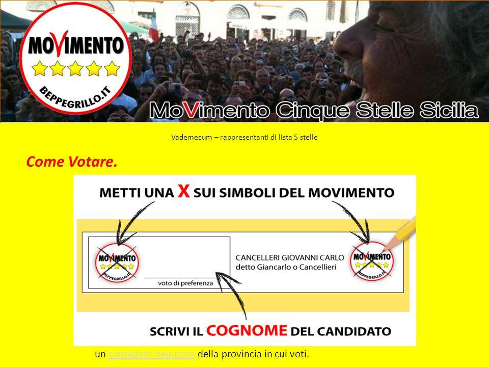 Come Votare. un candidato deputato della provincia in cui voti.candidato deputato Vademecum – rappresentanti di lista 5 stelle