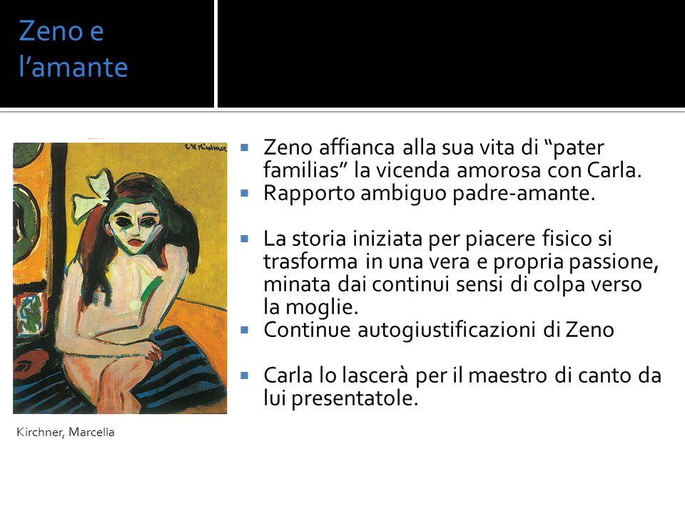 Zeno e lamante Zeno affianca alla sua vita di pater familias la vicenda amorosa con Carla. Rapporto ambiguo padre-amante. La storia iniziata per piace