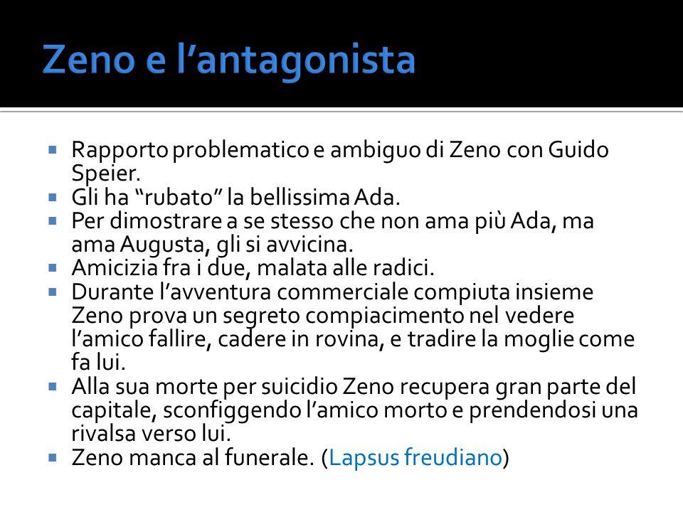 Rapporto problematico e ambiguo di Zeno con Guido Speier. Gli ha rubato la bellissima Ada. Per dimostrare a se stesso che non ama più Ada, ma ama Augu