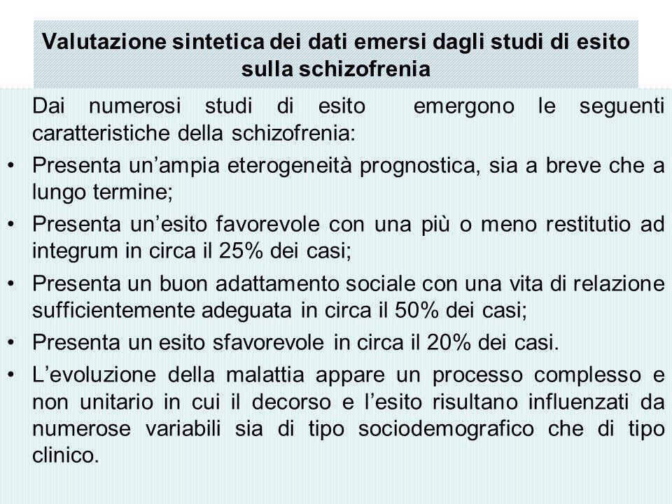 Valutazione sintetica dei dati emersi dagli studi di esito sulla schizofrenia Dai numerosi studi di esito emergono le seguenti caratteristiche della s
