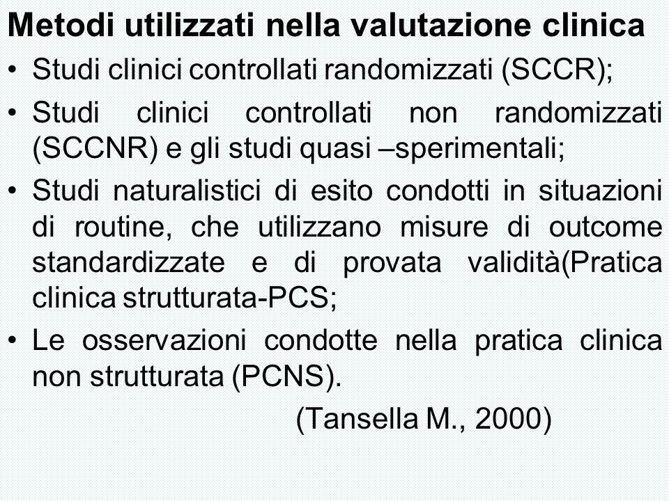 Metodi utilizzati nella valutazione clinica Studi clinici controllati randomizzati (SCCR); Studi clinici controllati non randomizzati (SCCNR) e gli st