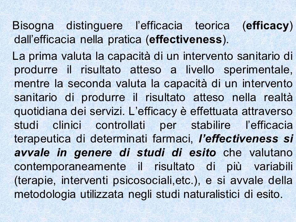 Bisogna distinguere lefficacia teorica (efficacy) dallefficacia nella pratica (effectiveness). La prima valuta la capacità di un intervento sanitario