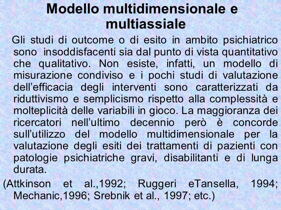 Modello multidimensionale e multiassiale Gli studi di outcome o di esito in ambito psichiatrico sono insoddisfacenti sia dal punto di vista quantitati