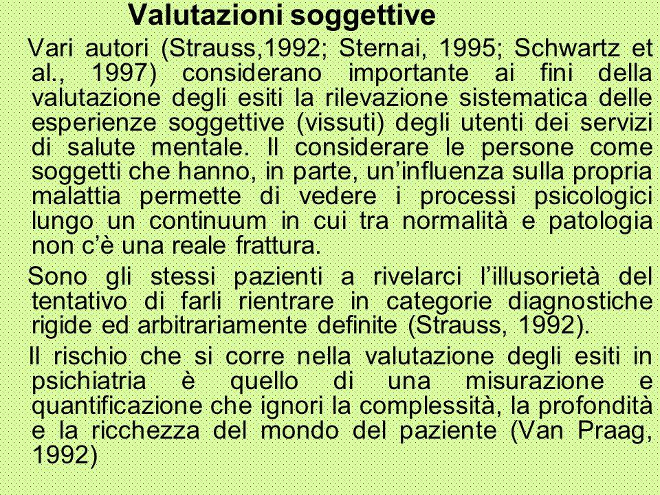Valutazioni soggettive Vari autori (Strauss,1992; Sternai, 1995; Schwartz et al., 1997) considerano importante ai fini della valutazione degli esiti l