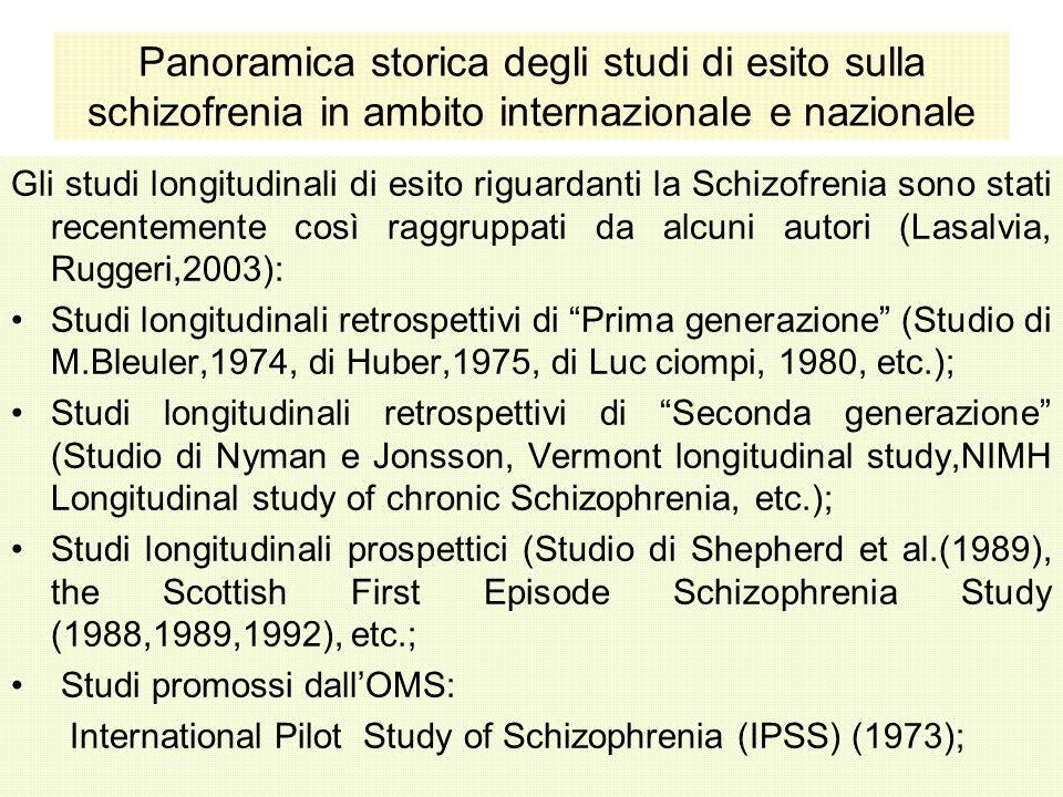 Panoramica storica degli studi di esito sulla schizofrenia in ambito internazionale e nazionale Gli studi longitudinali di esito riguardanti la Schizo