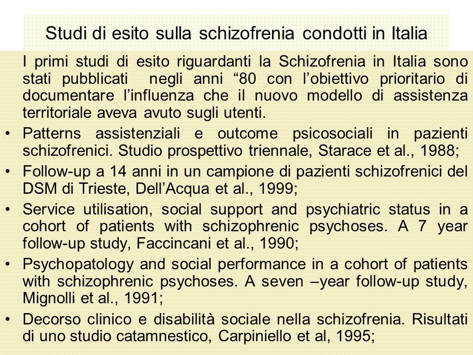 Studi di esito sulla schizofrenia condotti in Italia I primi studi di esito riguardanti la Schizofrenia in Italia sono stati pubblicati negli anni 80