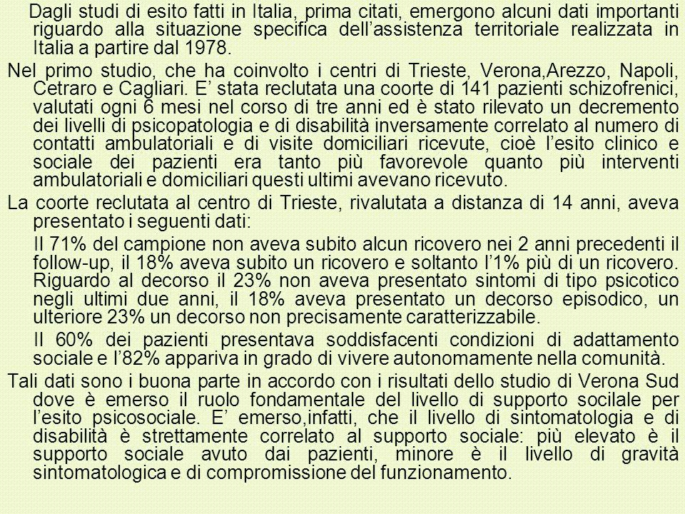 Dagli studi di esito fatti in Italia, prima citati, emergono alcuni dati importanti riguardo alla situazione specifica dellassistenza territoriale rea