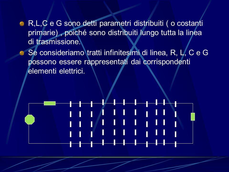 R,L,C e G sono detti parametri distribuiti ( o costanti primarie), poiché sono distribuiti lungo tutta la linea di trasmissione.