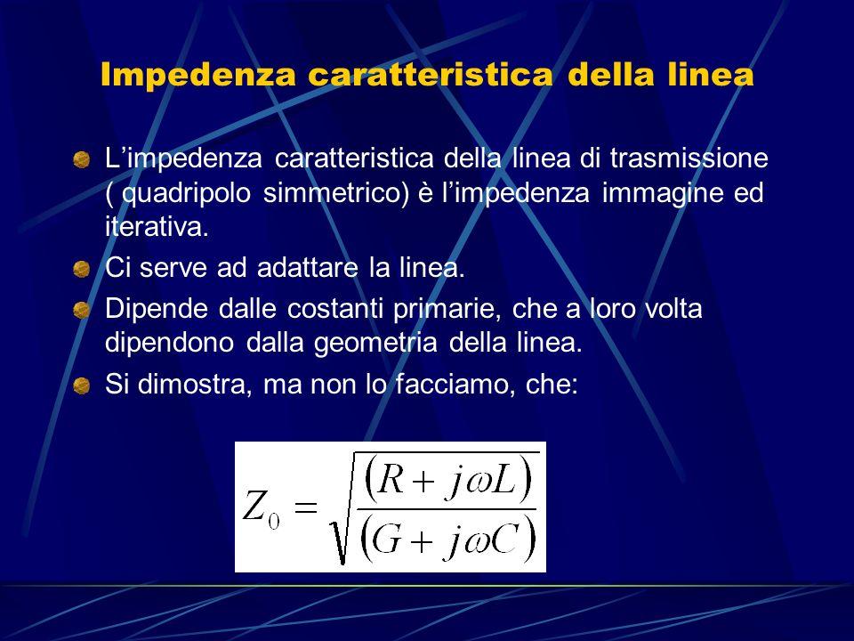 Per alte frequenze ω molto grande: Al numeratore ωL>>R Al denominatore ωC>>G Quindi : E puramente resistiva ( numero puro!!!!).