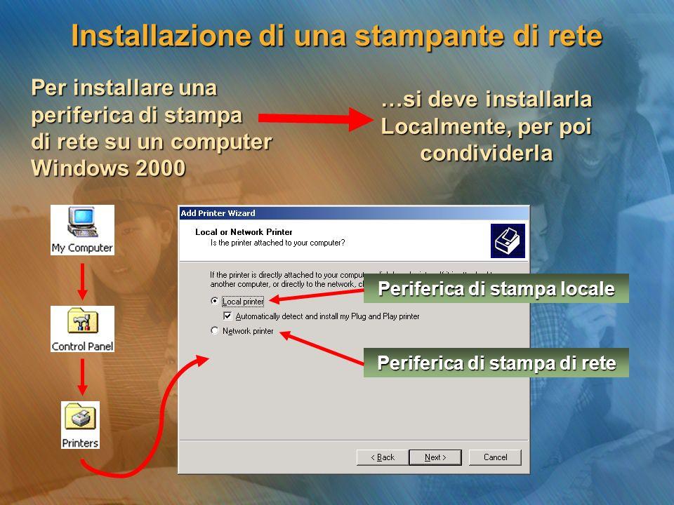 Per installare una periferica di stampa di rete su un computer Windows 2000 …si deve installarla Localmente, per poi condividerla Periferica di stampa locale Periferica di stampa di rete Installazione di una stampante di rete