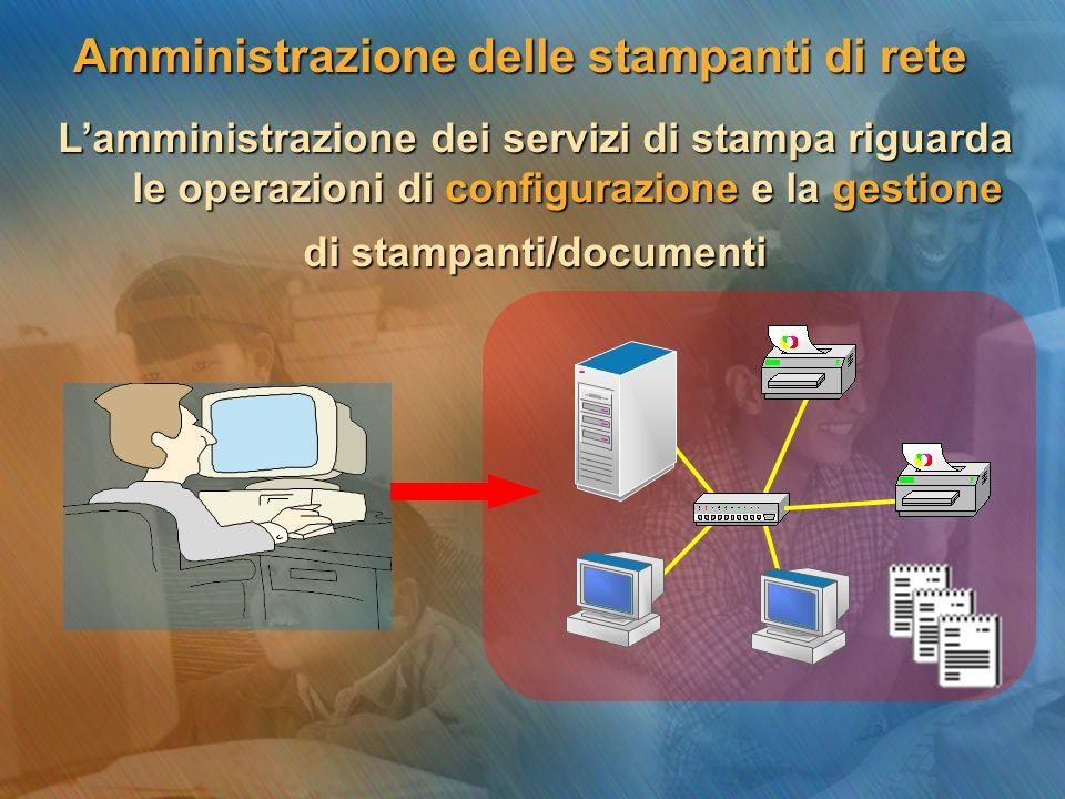 Lamministrazione dei servizi di stampa riguarda le operazioni di configurazione e la gestione di stampanti/documenti Amministrazione delle stampanti di rete