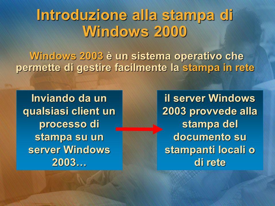 Introduzione alla stampa di Windows 2000 Windows 2003 è un sistema operativo che permette di gestire facilmente la stampa in rete Windows 2003 è un sistema operativo che permette di gestire facilmente la stampa in rete Inviando da un qualsiasi client un processo di stampa su un server Windows 2003… il server Windows 2003 provvede alla stampa del documento su stampanti locali o di rete