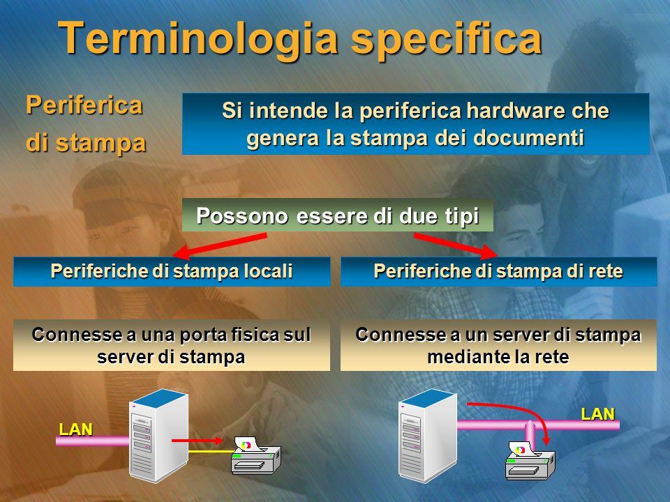 Periferica di stampa Si intende la periferica hardware che genera la stampa dei documenti Periferiche di stampa locali ---------------- ---------------- ---------------- ---------------- ---------------- ---------------- Possono essere di due tipi Periferiche di stampa di rete Connesse a una porta fisica sul server di stampa Connesse a un server di stampa mediante la rete LAN LAN Terminologia specifica
