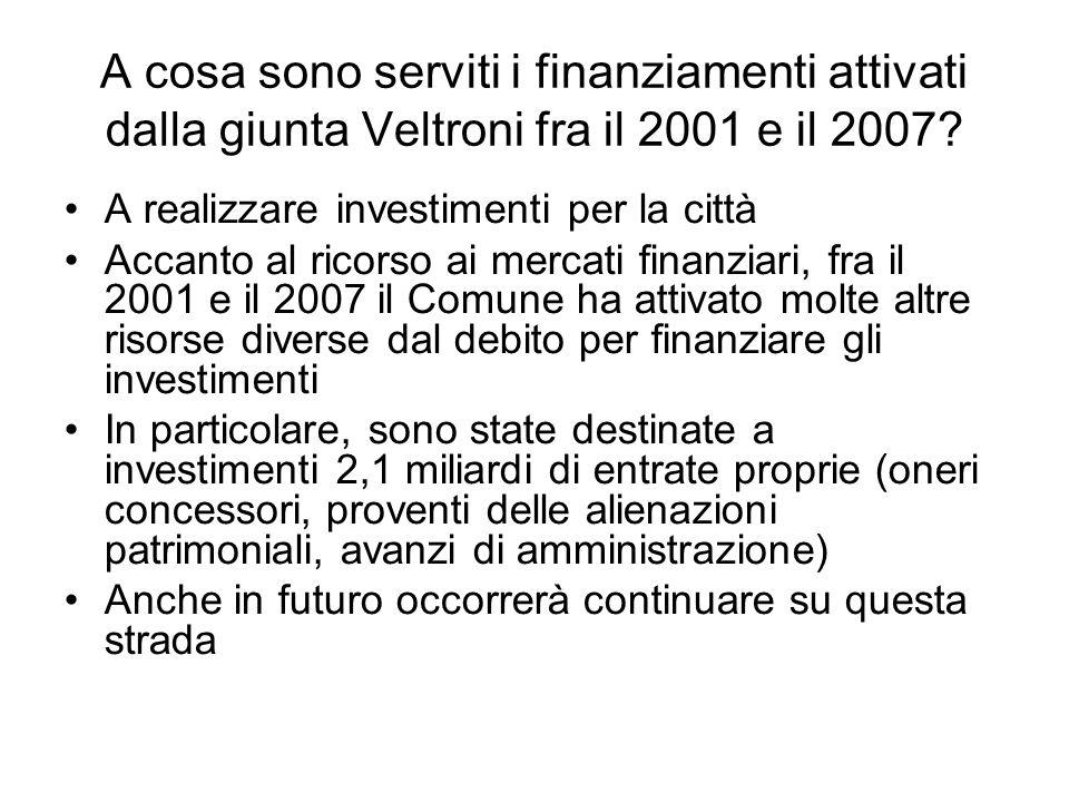 A cosa sono serviti i finanziamenti attivati dalla giunta Veltroni fra il 2001 e il 2007? A realizzare investimenti per la città Accanto al ricorso ai