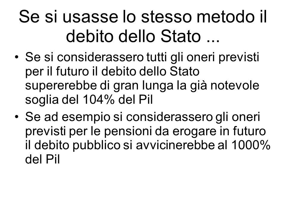 Se si usasse lo stesso metodo il debito dello Stato... Se si considerassero tutti gli oneri previsti per il futuro il debito dello Stato supererebbe d