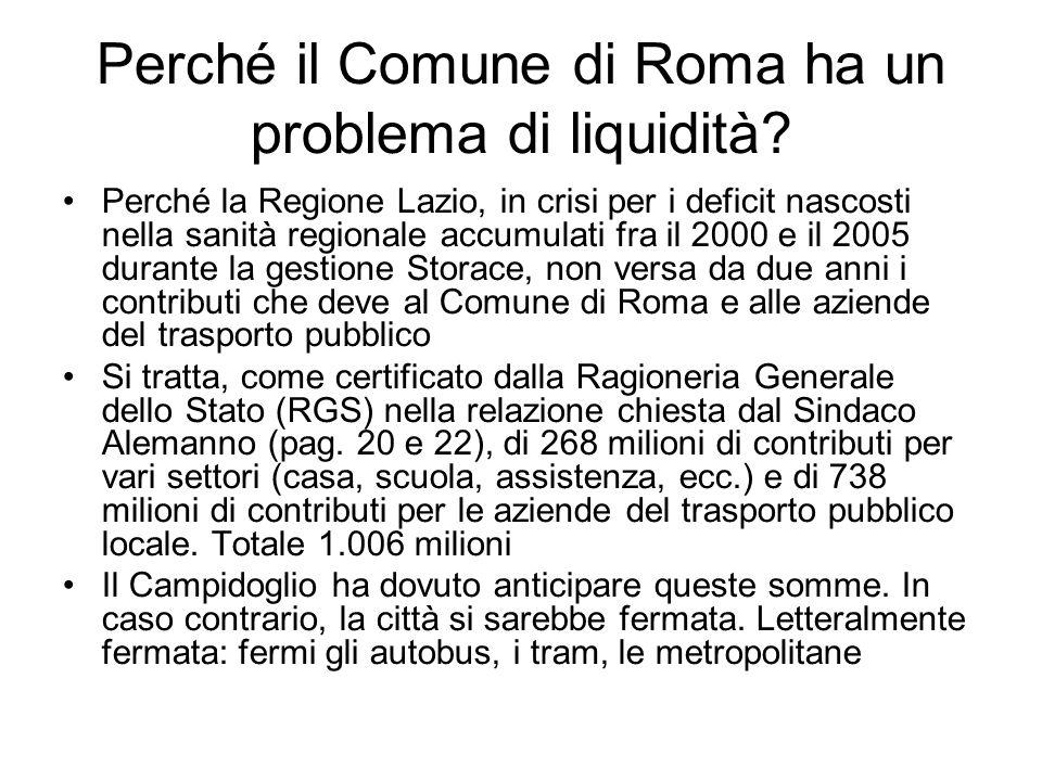 Perché il Comune di Roma ha un problema di liquidità? Perché la Regione Lazio, in crisi per i deficit nascosti nella sanità regionale accumulati fra i