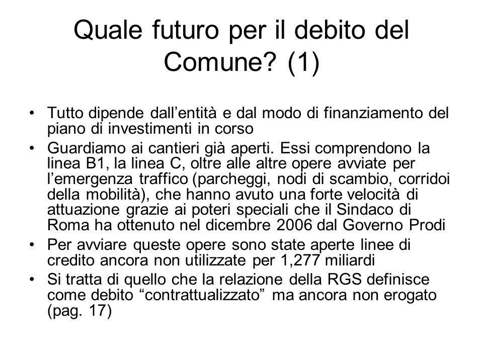 Quale futuro per il debito del Comune? (1) Tutto dipende dallentità e dal modo di finanziamento del piano di investimenti in corso Guardiamo ai cantie
