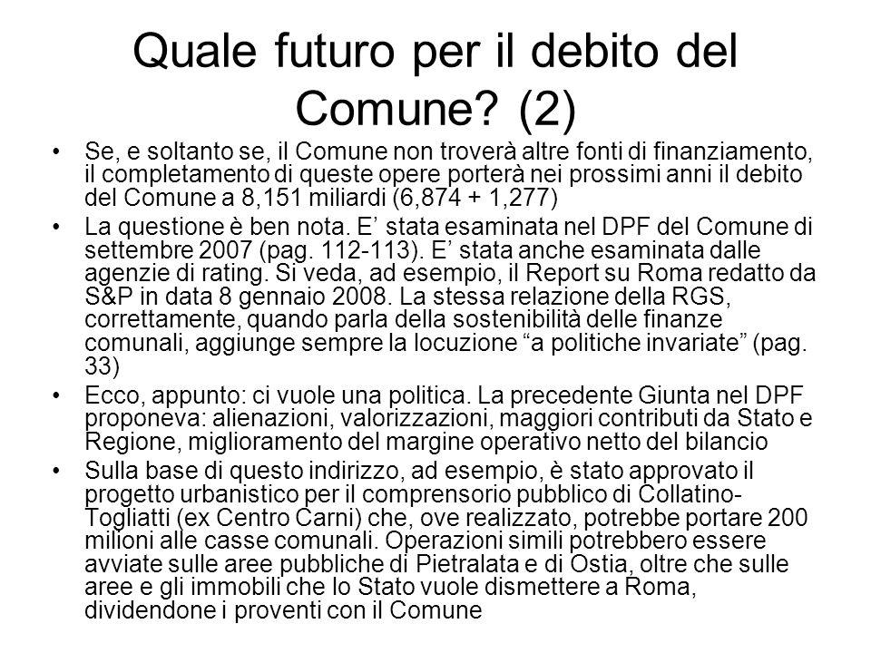 Quale futuro per il debito del Comune? (2) Se, e soltanto se, il Comune non troverà altre fonti di finanziamento, il completamento di queste opere por