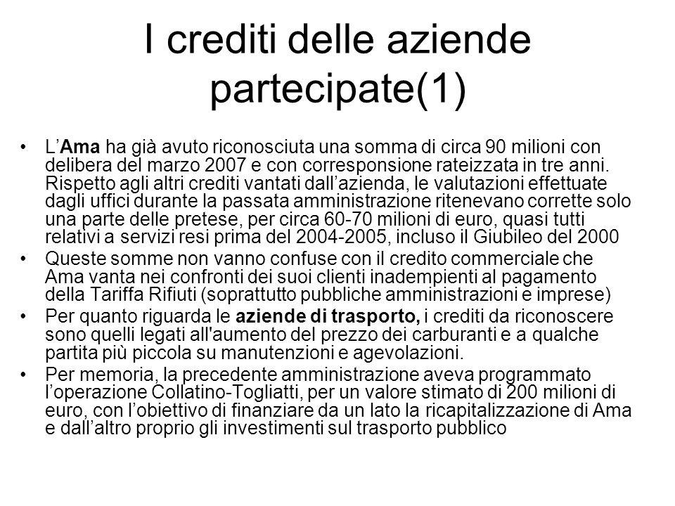I crediti delle aziende partecipate(1) LAma ha già avuto riconosciuta una somma di circa 90 milioni con delibera del marzo 2007 e con corresponsione r