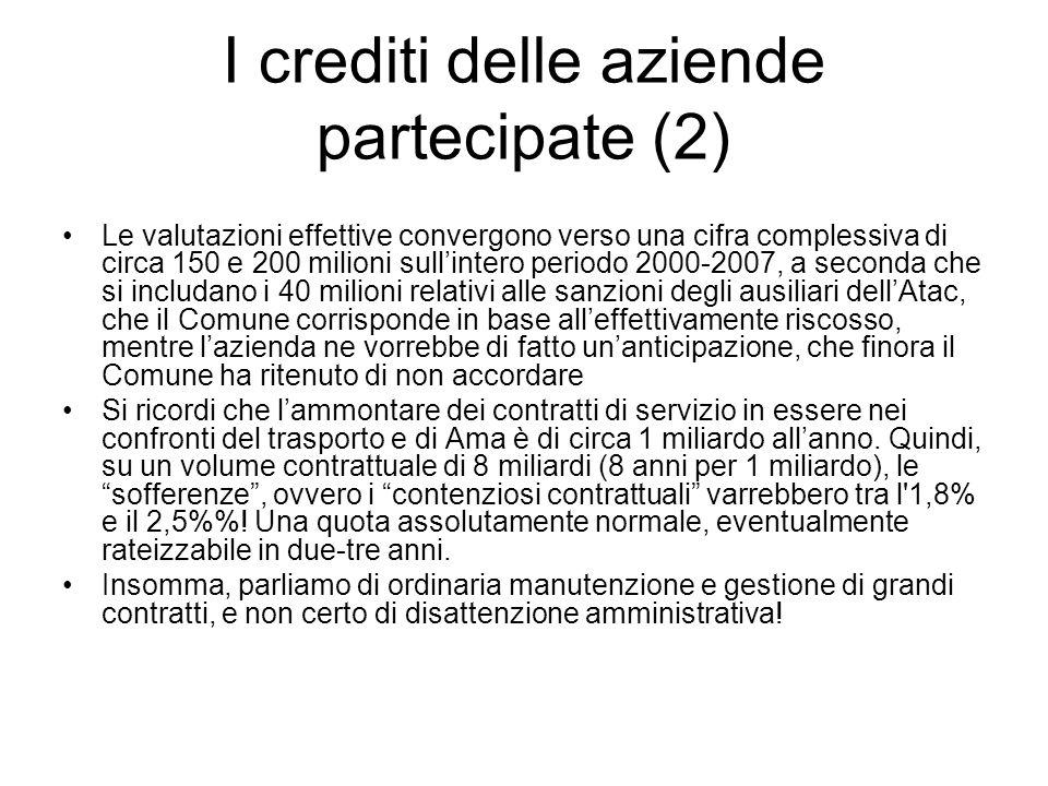 I crediti delle aziende partecipate (2) Le valutazioni effettive convergono verso una cifra complessiva di circa 150 e 200 milioni sullintero periodo