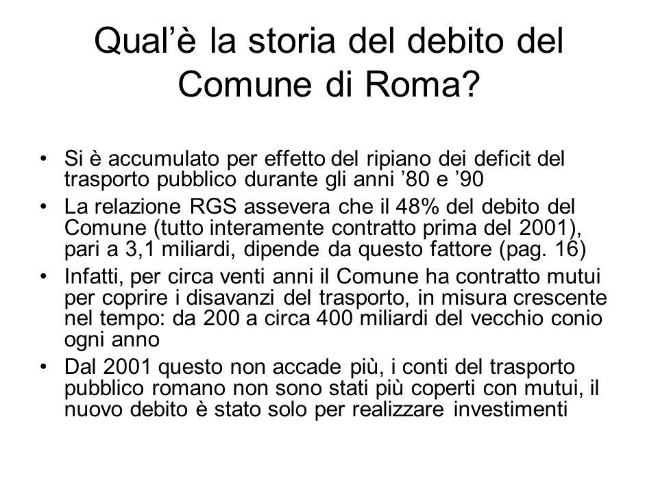 Qualè la storia del debito del Comune di Roma? Si è accumulato per effetto del ripiano dei deficit del trasporto pubblico durante gli anni 80 e 90 La