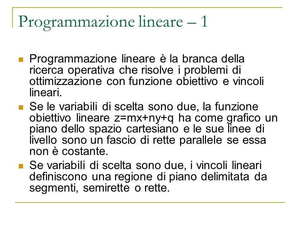 Programmazione lineare – 1 Programmazione lineare è la branca della ricerca operativa che risolve i problemi di ottimizzazione con funzione obiettivo