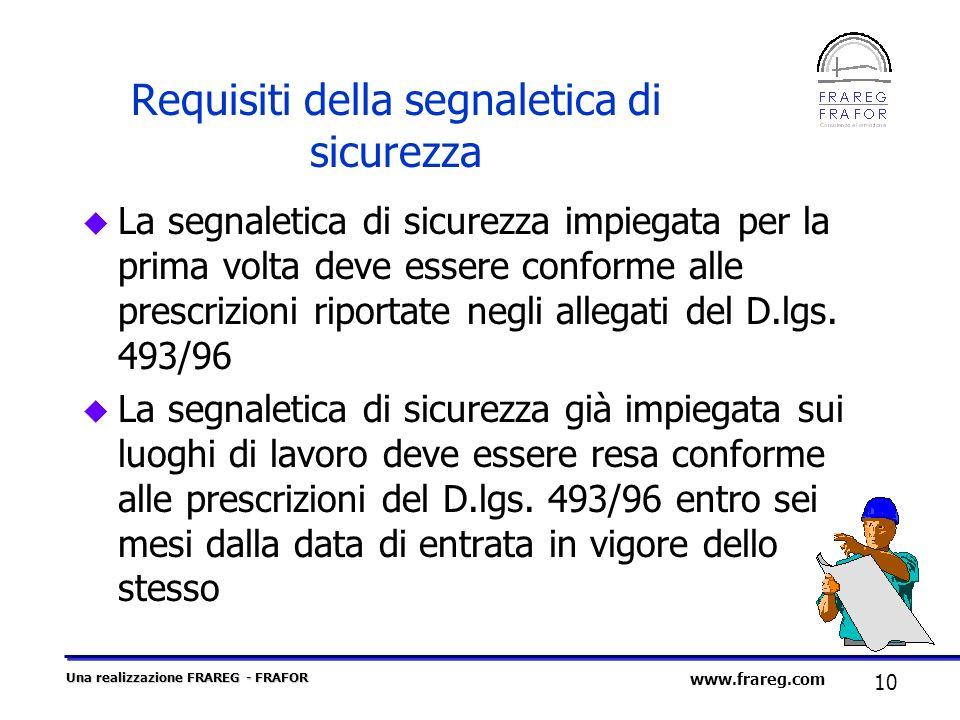 Una realizzazione FRAREG - FRAFOR 10 www.frareg.com Requisiti della segnaletica di sicurezza u La segnaletica di sicurezza impiegata per la prima volt