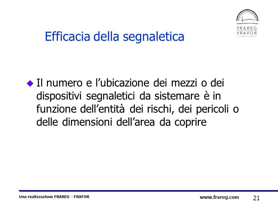 Una realizzazione FRAREG - FRAFOR 21 www.frareg.com Efficacia della segnaletica u Il numero e lubicazione dei mezzi o dei dispositivi segnaletici da s