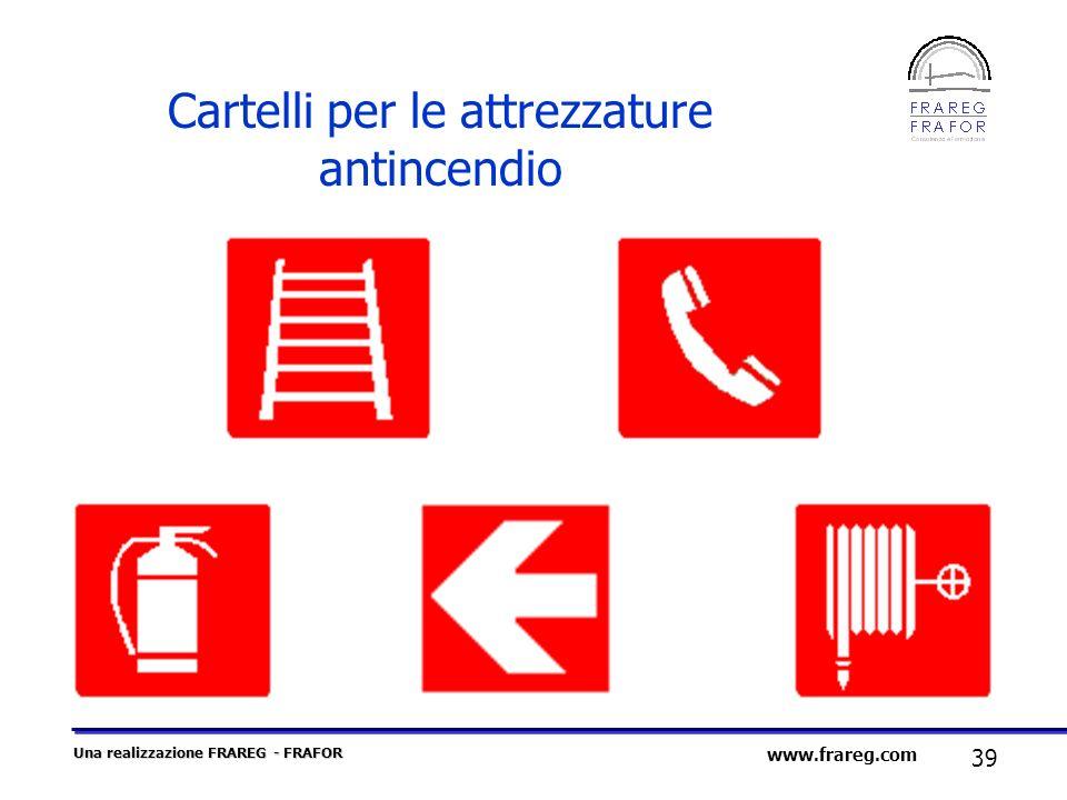 Una realizzazione FRAREG - FRAFOR 39 www.frareg.com Cartelli per le attrezzature antincendio