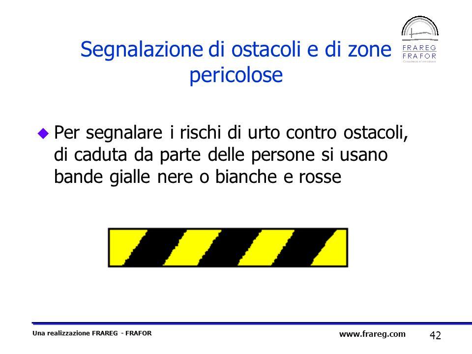 Una realizzazione FRAREG - FRAFOR 42 www.frareg.com Segnalazione di ostacoli e di zone pericolose u Per segnalare i rischi di urto contro ostacoli, di