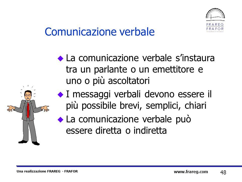 Una realizzazione FRAREG - FRAFOR 48 www.frareg.com Comunicazione verbale u La comunicazione verbale sinstaura tra un parlante o un emettitore e uno o