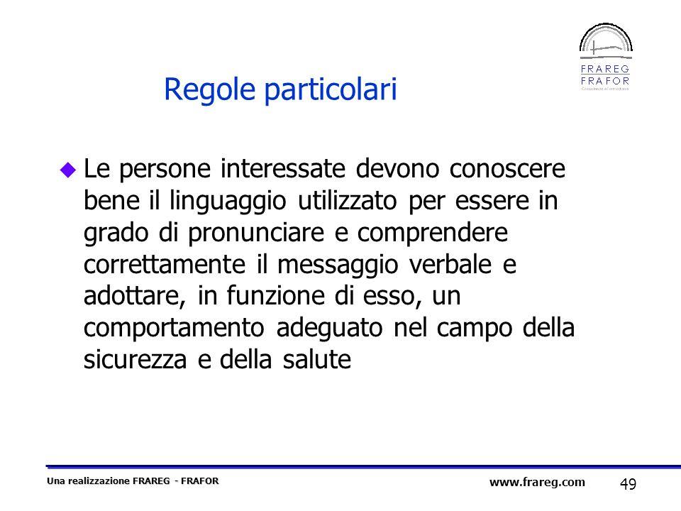 Una realizzazione FRAREG - FRAFOR 49 www.frareg.com Regole particolari u Le persone interessate devono conoscere bene il linguaggio utilizzato per ess