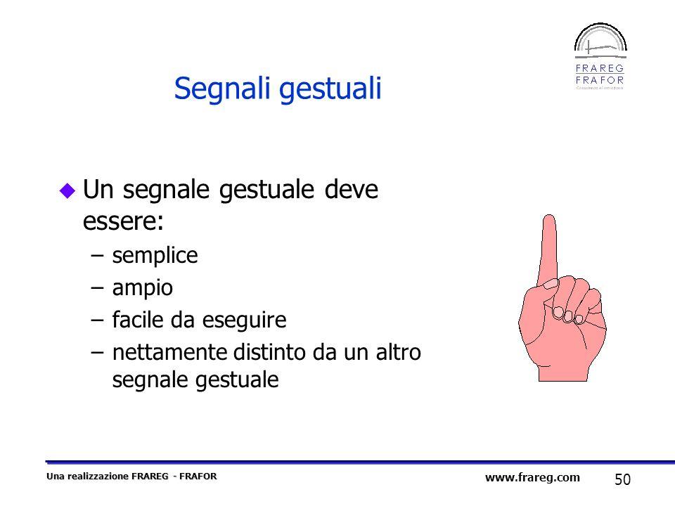 Una realizzazione FRAREG - FRAFOR 50 www.frareg.com Segnali gestuali u Un segnale gestuale deve essere: –semplice –ampio –facile da eseguire –nettamen