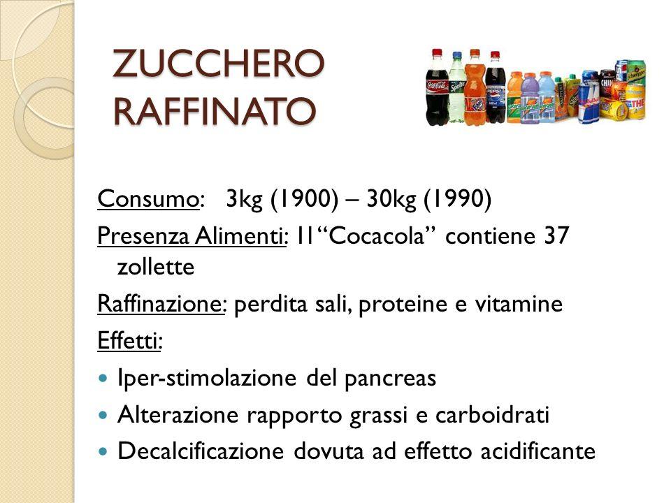 ZUCCHERO RAFFINATO Consumo: 3kg (1900) – 30kg (1990) Presenza Alimenti: 1l Cocacola contiene 37 zollette Raffinazione: perdita sali, proteine e vitami