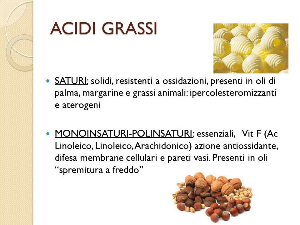 ACIDI GRASSI SATURI: solidi, resistenti a ossidazioni, presenti in oli di palma, margarine e grassi animali: ipercolesteromizzanti e aterogeni MONOINS